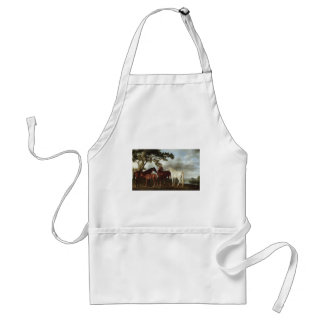 Mares and Foals in a River Landscape George Stubbs Standard Apron