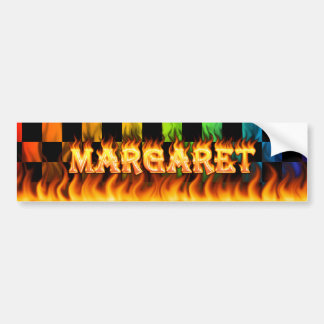 Margaret real fire and flames bumper sticker desig