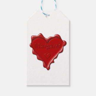 Margaret. Red heart wax seal with name Margaret Pack Of Gift Tags