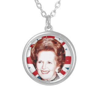 MARGARET THATCHER UNION JACK SILVER PLATED NECKLACE