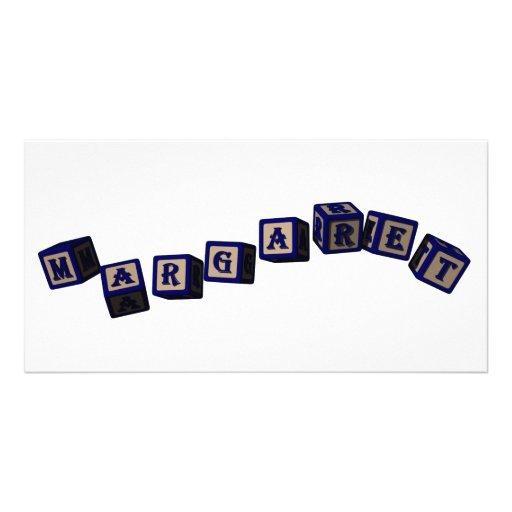 Margaret toy blocks in blue custom photo card
