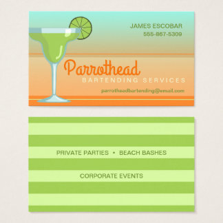 Margarita Cocktail Lime/Orange/Aqua Business Card