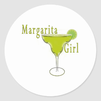 Margarita Girl Postcard Classic Round Sticker