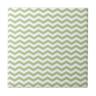 Margarita Green And White Zigzag Chevron Pattern Tile