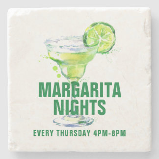 Margarita Night Martini Glass Illustration Stone Coaster