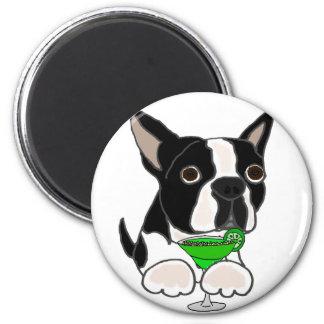 Margarita potable de chien drôle de Boston Terrier Magnet Rond 8 Cm