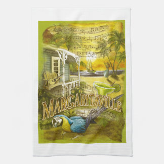 Margarita Song and Parrot on Bar Kitchen Tea Towel