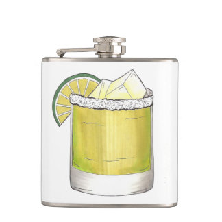 Margarita Summer Cocktail Mixed Drink Lime Gift Hip Flask
