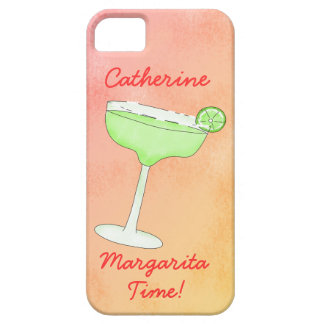 "Margarita Time"" and Name Peach Yellow Background iPhone 5 Case"