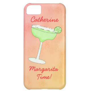 "Margarita Time"" and Name Peach Yellow Background iPhone 5C Cases"