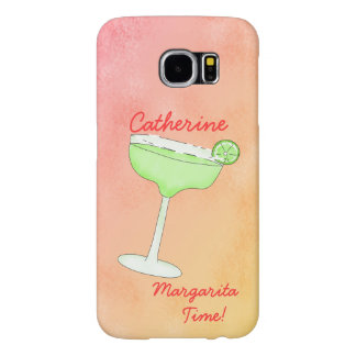 "Margarita Time"" and Name Peach Yellow Background Samsung Galaxy S6 Cases"