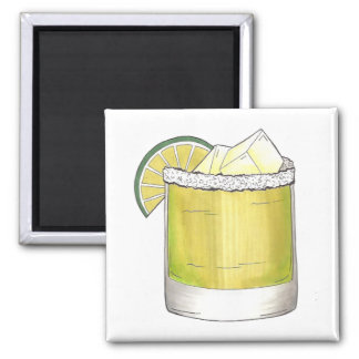 Margarita w/ Lime Cocktail Mixologist Drinks Bar Square Magnet