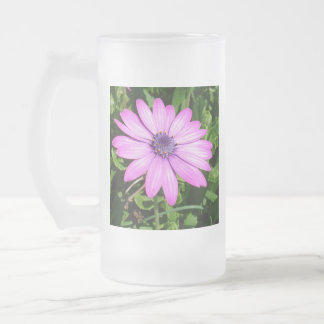 Marguerite africaine rose simple contre le frosted glass beer mug