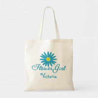 Marguerite bleue de fille de fleur sac en toile budget