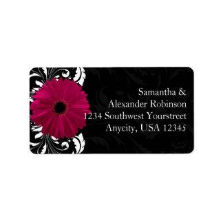 Marguerite fuchsia de Gerbera de rouleau avec noir Étiquettes D'adresse