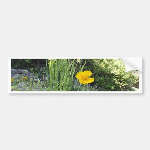 Marguerite jaune et iris blancs adhésifs pour voiture