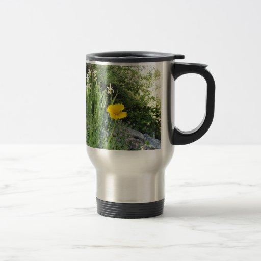 Marguerite jaune et iris blancs tasse à café