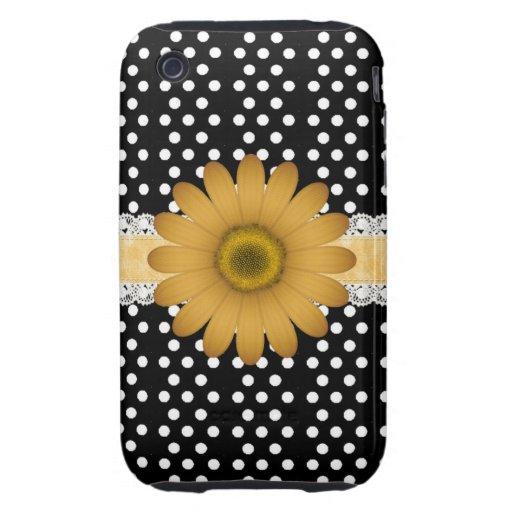 Marguerite jaune et Polkadot blanc Coques iPhone 3 Tough