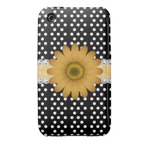 Marguerite jaune et Polkadot blanc Coques Case-Mate iPhone 3