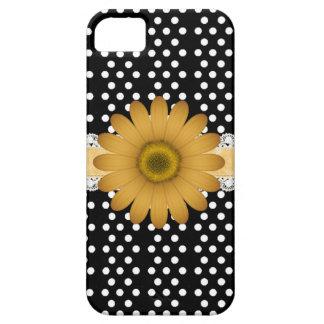Marguerite jaune et Polkadot blanc Coques iPhone 5