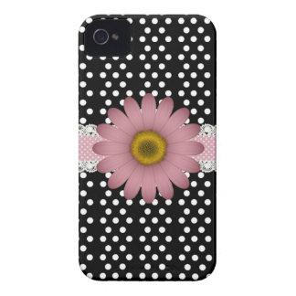 Marguerite rose et Polkadot blanc Coques iPhone 4