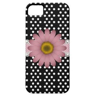 Marguerite rose et Polkadot blanc Coques iPhone 5 Case-Mate