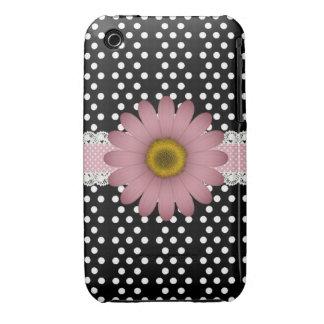Marguerite rose et Polkadot blanc Étuis iPhone 3