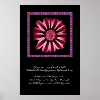 Marguerite rouge et rose d'inspiration - posters