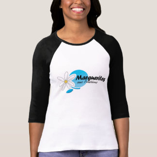 Marguerites des prés Noir F de Chandail la Manche T-shirt