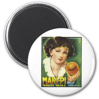 MARI-PE VALENCIA ORANGE VINTAGE ART LABEL LG 2 INCH ROUND MAGNET