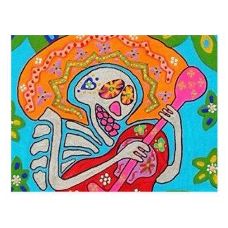 Mariachi Serenade - Day Of The Dead Skeleton Postcard