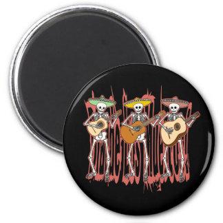 Mariachi Skeleton Trio 2 Inch Round Magnet