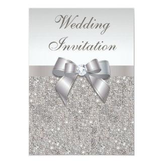 Mariage argenté imprimé de diamants et d'arc de carton d'invitation  12,7 cm x 17,78 cm