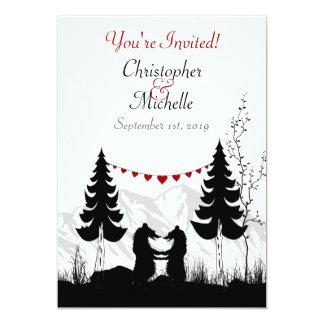 Mariage avec du charme de couples d'ours de carton d'invitation  12,7 cm x 17,78 cm