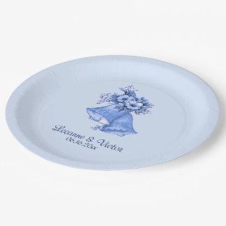 Mariage Bells bleu personnalisées Assiettes En Papier