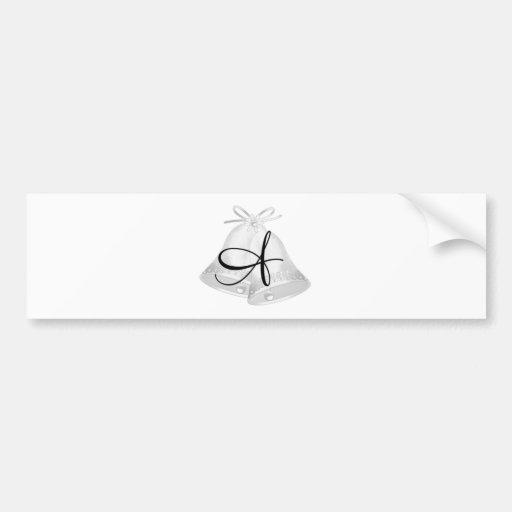 Mariage Bells décorées d'un monogramme Autocollants Pour Voiture