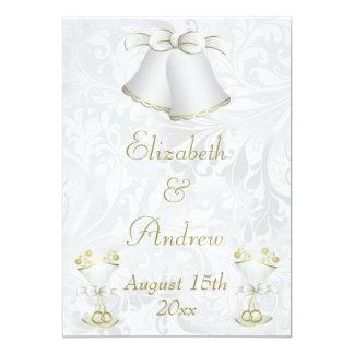 Mariage Bells romantique et cannelures de Carton D'invitation 12,7 Cm X 17,78 Cm