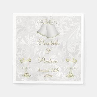 Mariage Bells romantique et cannelures de Champagn Serviettes Jetables