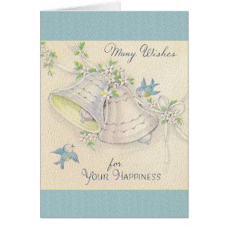 Mariage Bells vintage et carte de mariage bleue d'