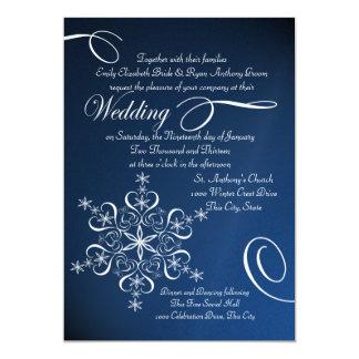 Mariage bleu d'hiver d'élégance de flocon de neige carton d'invitation  12,7 cm x 17,78 cm