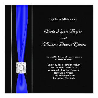 Mariage bleu royal d arc de noir bleu cartons d'invitation personnalisés