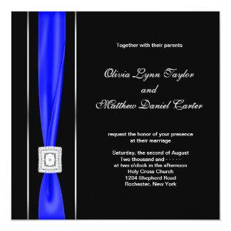 Mariage bleu royal d'arc de noir bleu carton d'invitation  13,33 cm