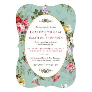 Mariage botanique de jardin floral vintage carton d'invitation  12,7 cm x 17,78 cm