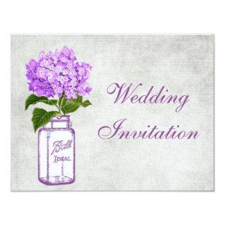 Mariage chic minable de pot de maçon et carton d'invitation 10,79 cm x 13,97 cm