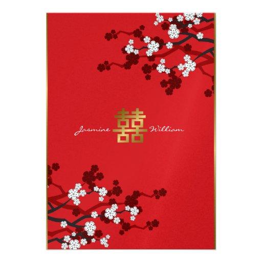 Mariage chinois de double bonheur de fleurs de cer cartons d'invitation