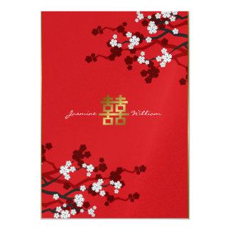 Mariage chinois de double bonheur de fleurs de carton d'invitation  12,7 cm x 17,78 cm