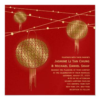 Mariage chinois de doubles lanternes d'or de carton d'invitation  13,33 cm