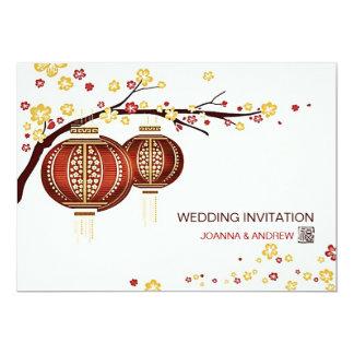 Mariage chinois de Fu de cerisier rouge d'or de Carton D'invitation 12,7 Cm X 17,78 Cm