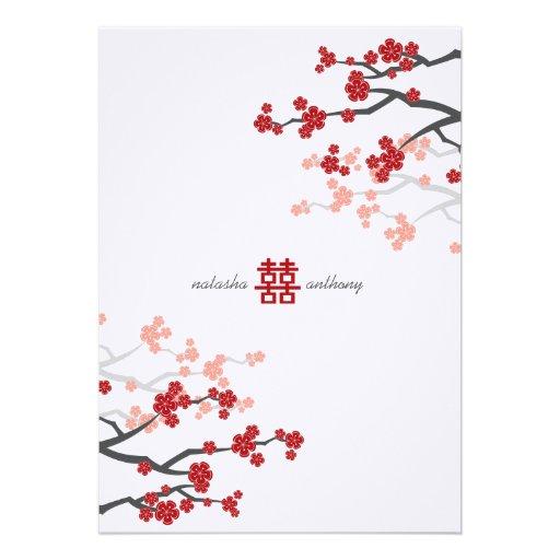 Mariage chinois de Sakura de fleurs rouges de fleu Cartons D'invitation Personnalisés