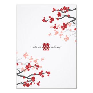 Mariage chinois de Sakura de fleurs rouges de Cartons D'invitation Personnalisés